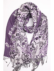 Women Cotton / Polyester ScarfVintage / Cute / Work / Casual Rectangle / Infinity ScarfGreen / PurpleJacquard