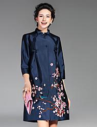 Feminino Casaco Casual Temática Asiática Outono / Inverno,Bordado Azul / Vermelho / Verde Poliéster Colarinho Chinês-Manga ¾