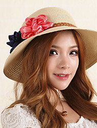Women Bohemian Summer Flowers Decorative Sun Beach Folding Straw Hat