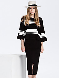 Women's Casual/Daily Simple Fall Set Skirt Suits,Striped Round Neck ¾ Sleeve Red / Black Cotton / Polyester Medium