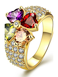 Yellow Gold Plated Rings Women  Gold Ring With Multicolor Cubic Zirconia Fashion Jewelry Flower Ring KZCR385