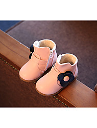 Girls' Boots Winter Leatherette Outdoor Casual Flat Heel Flower Black Blue Blushing Pink