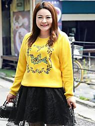 Damen Standard Pullover-Lässig/Alltäglich Übergröße Einfach Stickerei Gelb Rundhalsausschnitt Langarm Baumwolle Herbst Winter Mittel