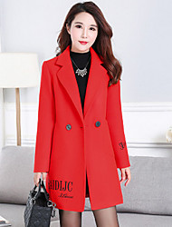 Women's Going out / Beach / Party/Cocktail Simple Pea Coats,Embroidered Shirt Collar Long Sleeve Fall / Winter Red Wool Thick