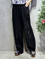Sign ethnic style embroidery cotton solid color casual trousers Obscure