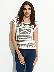 MizhenWomen's Print White T-shirt,Round Neck Short Sleeve