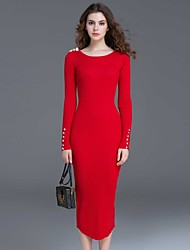 Dreamy Land Women's Casual/Daily Simple Bodycon DressSolid Round Neck Midi Long Sleeve Red Polyester Fall Mid Rise Micro-elastic Medium