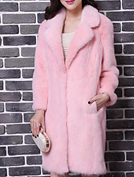 Women's Casual/Daily Simple Coat,Solid Long Sleeve Winter Pink / White Rabbit Fur Thick