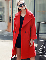 Women's Casual/Daily Simple Coat,Solid Long Sleeve Red Cotton