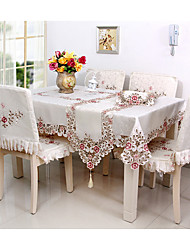 Square Embroidered / Floral Table Cloth   Blend Material Hotel Dining Table / Wedding Banquet Dinner / Table Decoration