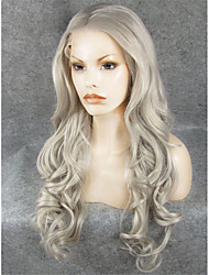 IMSTYLE 26''Hot Selling Gray Long Wavy Synthetic Lace Front Wigs High Heat 150%-180% Density