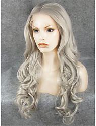 26''hot imstyle vendant gris longs ondulés dentelle synthétique perruques front haute chaleur 150% de densité -180%