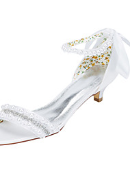 Women's Heels Spring / Fall Others Stretch Satin Wedding / Party & Evening / Dress Kitten Heel Crystal / Pearl Ivory / White Others