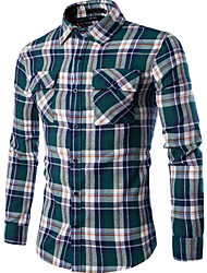 Men's Casual/Daily Simple Shirt,Plaid Square Neck Long Sleeve Red / Brown / Green Cotton