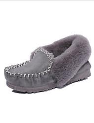 Women's Boots Winter Comfort Fur Casual Flat Heel Black Brown Pink Gray