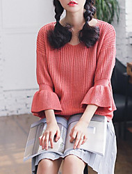 Damen Standard Pullover-Ausgehen Lässig/Alltäglich Retro Street Schick Anspruchsvoll Solide Rosa Rundhalsausschnitt ¾-ArmKunst-Pelz