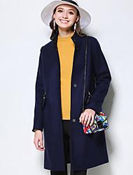 Feminino Casaco Tamanhos Grandes Simples Inverno,Sólido Azul Lã / Poliéster Colarinho Chinês-Manga Longa Grossa