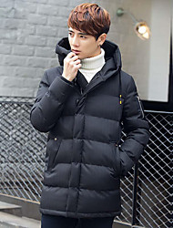 Men's Long Padded Coat,Simple Casual/Daily Solid-Cotton Cotton Long Sleeve Hooded Black
