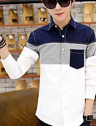 Men's Casual/Daily Simple Shirt,Solid Shirt Collar Long Sleeve Multi-color Cotton