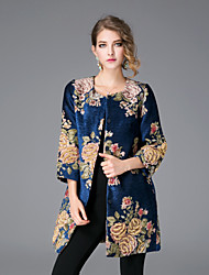JOJO HANS Women's Casual/Daily Chinoiserie CoatJacquard Round Neck  Sleeve Winter Blue Linen