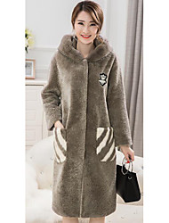 Women's Casual/Daily Simple Fur Coat,Solid Hooded Long Sleeve Fall / Winter Gray Faux Fur