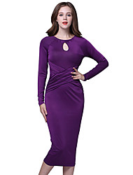 Women's Going out Street chic Sheath Dress,Solid Round Neck Midi Long Sleeve Blue / Black / Purple Polyester Fall / Winter Mid Rise