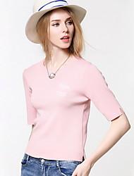 Damen Standard Pullover-Ausgehen Lässig/Alltäglich Einfach Niedlich Solide Rosa Rundhalsausschnitt ¾-Arm Nylon Herbst Mittel