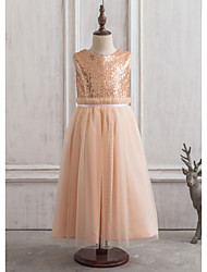 A-Line/Princess Tea-length Flower Girl Dress - Satin/Sequined Sleeveless Scoop Neck With Sequins/V Back
