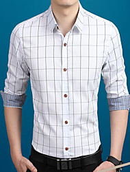 Men's Work / Beach / Sports Sexy / Cute / Chinoiserie Fall Shirt,Solid Peter Pan Collar Long Sleeve Blue / Red / White / Gray Cotton