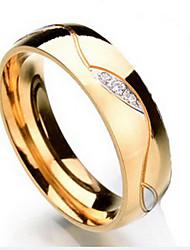 Ringe Diamant Alltag / Normal / Sport Schmuck Titanstahl Herren Ring / Bandringe 1 Stück,Eine Größe Goldfarben / Schwarz