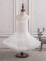 Princesse Courte / Mini Robe de Demoiselle d'Honneur Fille - Satin / Tulle Sans Manches Bretelles Fines avec Fleur(s)