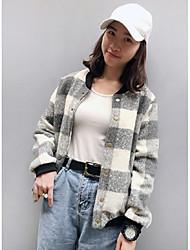 Damen Verziert Einfach Lässig/Alltäglich Jacke,Herbst / Winter V-Ausschnitt Langarm Schwarz / Grau Mittel Polyester