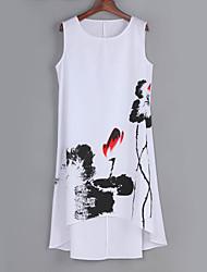 Women's Casual/Daily Vintage Plus Size / Loose Dress,Print Asymmetrical Knee-length