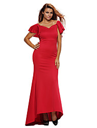 Women's Gorgeous Ruffle Accent Hot Red Party Gown