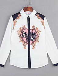 Women's Wild Print Stitching Slim Chiffon Shirt