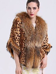 BF-Fur Style Women's Casual/Daily Sophisticated Fur CoatLeopard Shirt Collar  Sleeve Winter Brown Raccoon Fur