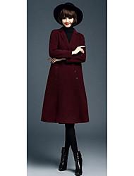 Damen Solide Einfach Lässig/Alltäglich Mantel,Herbst / Winter Langarm Blau / Rot / Beige Mittel Wolle