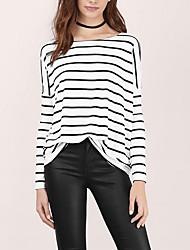 Damen Gestreift Einfach / Street Schick Ausgehen / Lässig/Alltäglich T-shirt,Rundhalsausschnitt Alle Saisons Langarm Weiß Polyester Dünn