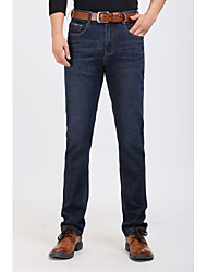 Men's Straight Jeans Pants,Going out Simple Solid Mid Rise Button Cotton Micro-elastic Spring