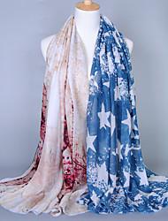 Women's Fashion Voile Star Print Cotton Vintage Scarf Blue/Khaki/Black(180*100CM)