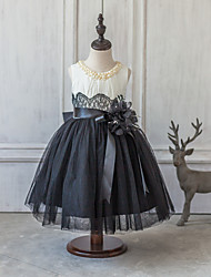 Ball Gown Tea-length Flower Girl Dress - Satin / Tulle Sleeveless Scoop with Lace / Pearl Detailing / Sash / Ribbon