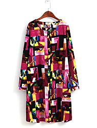 Women's Work / Sports Cute / Chinoiserie Loose Dress,Print Round Neck Midi Long Sleeve Multi-color Cotton All Seasons Mid Rise