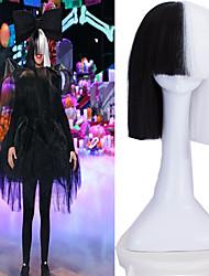 festa de cosplay em linha sia viva esta está agindo meia preta&peruca curto branco com peruca resistente ao calor traje bowknot
