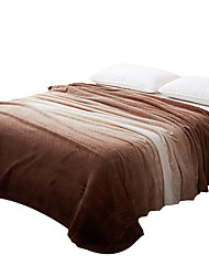 Plush Coffee Printed Curve 100% Polyester Blankets