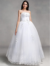 Ball Gown Sweetheart Floor Length Lace Wedding Dress with Beading Appliques Sash / Ribbon Bow by QQC Bridal
