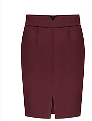 Women's Plus Size Bodycon Solid Skirts,Work Simple High Rise Above Knee Zipper Wool Micro-elastic Fall / Winter