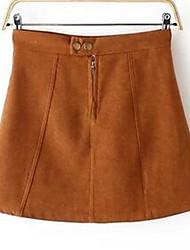 Damen Röcke,A-Linie einfarbigLässig/Alltäglich Mittlere Hüfthöhe Mini Reisverschluss / Elastizität Nylon Micro-elastisch Riemengurte