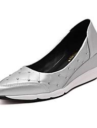 Damen-High Heels-Lässig-PU-Keilabsatz-Others-Schwarz / Weiß / Silber