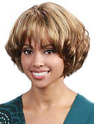 courte perruque de cheveux ondulés avec une frange brune et blonds perruques couleur synthétiques pour les femmes