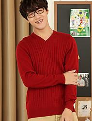 Мужчины На выход / Вечеринка/коктейль Уличный стиль / Изысканный Обычный Пуловер Однотонный,Красный / Черный V-образный вырезДлинный